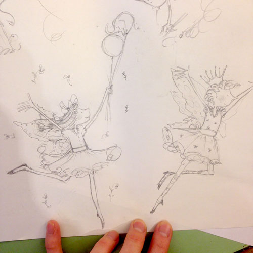 Sketches for the Fairies pattern, for Pink Elephant Organics