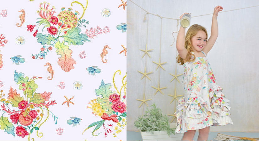 Starfish Wishes | hand-painted, repeat pattern for Pink Elephant Organics | Get it here