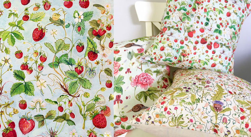 Strawberries | hand-painted, repeat pattern © Strawberry Snail Illustrations | Get the pillow cover here